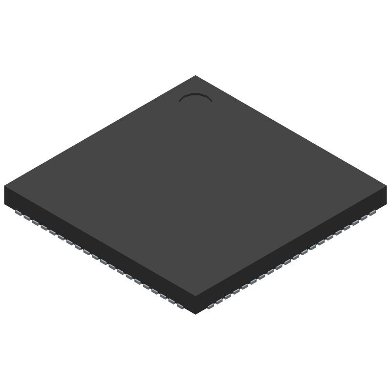 Silicon Labs EFM32TG11B520F128GM80-A (Quad Flat No-Lead) 3D model isometric projection.