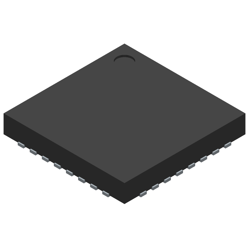 Analog Devices ADE9153AACPZ (Quad Flat No-Lead) 3D model isometric projection.