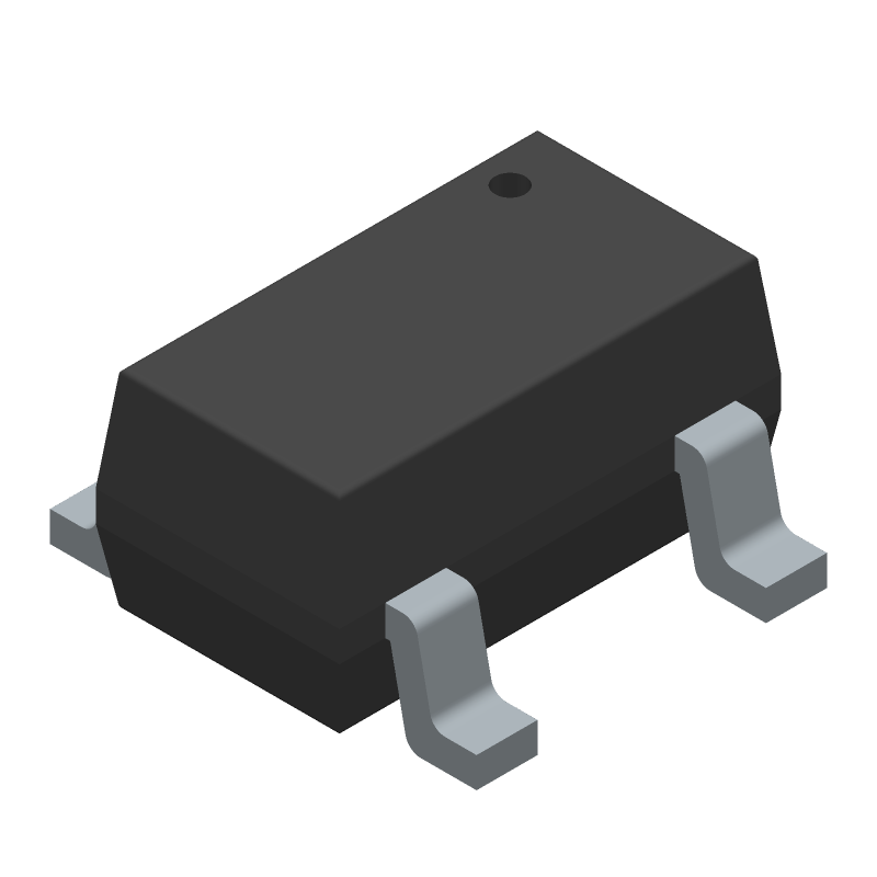 Texas Instruments TLV75533PDBVR (SOT23 (5-Pin)) 3D model isometric projection.