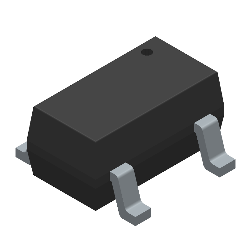Microchip MCP73831T-2ACI/OT (SOT23 (5-Pin)) 3D model isometric projection.