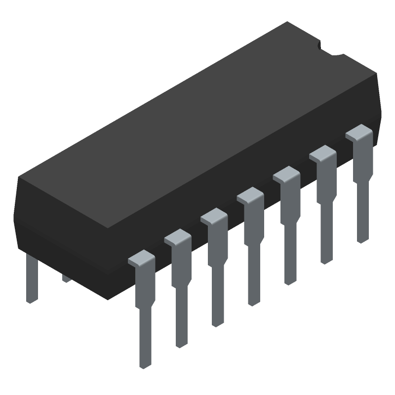 ON Semiconductor LM324NG (Dual-In-Line Packages) 3D model isometric projection.