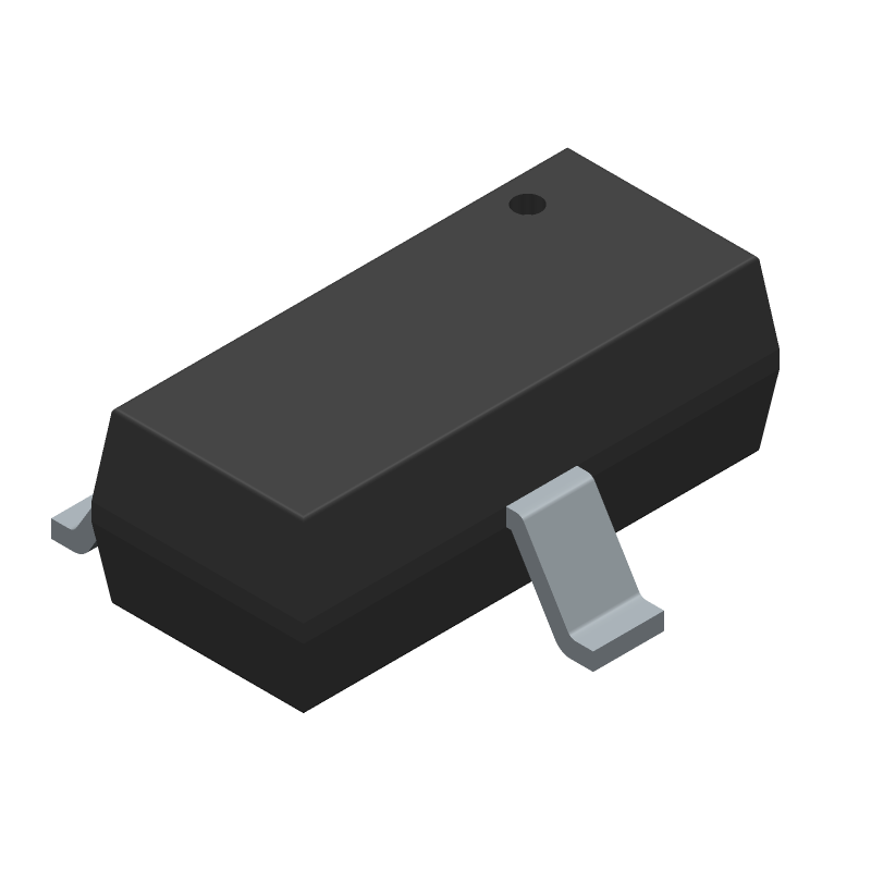 ON Semiconductor NUP2105LT1G (SOT23 (3-Pin)) 3D model isometric projection.