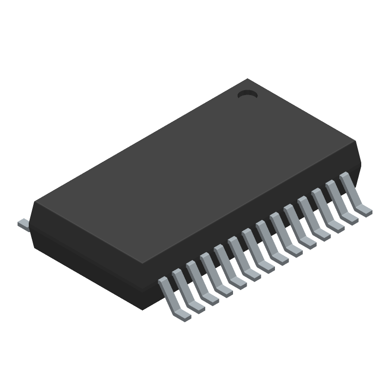 Microchip MCP23017T-E/SS (Small Outline Packages) 3D model isometric projection.