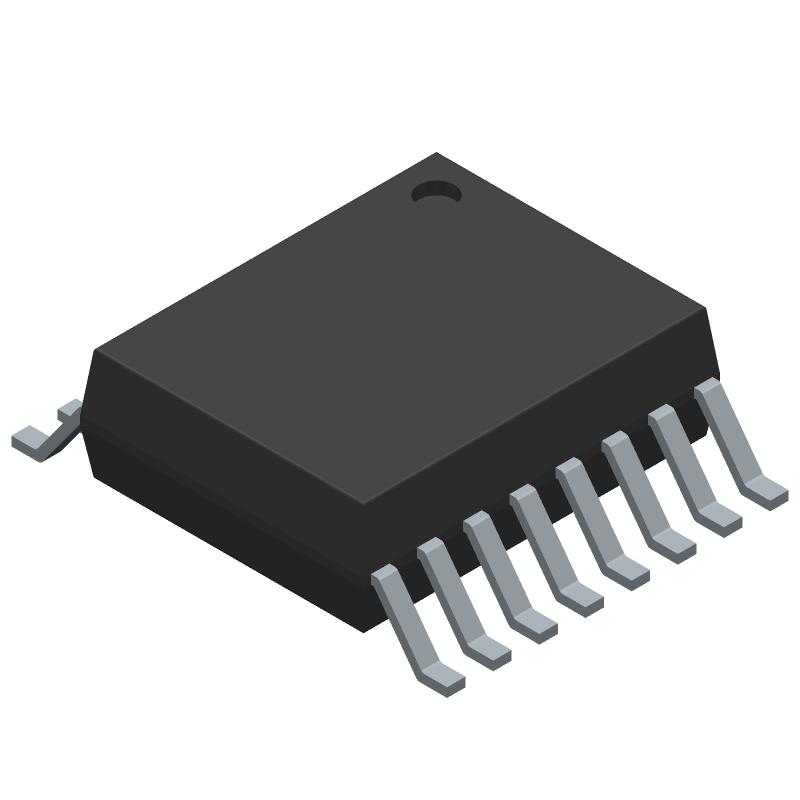 FTDI Chip FT230XS-R (Small Outline Packages) 3D model isometric projection.