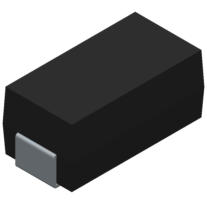 Diodes Inc. B260A-13-F (Diodes Moulded Non Polarised) 3D model isometric projection.