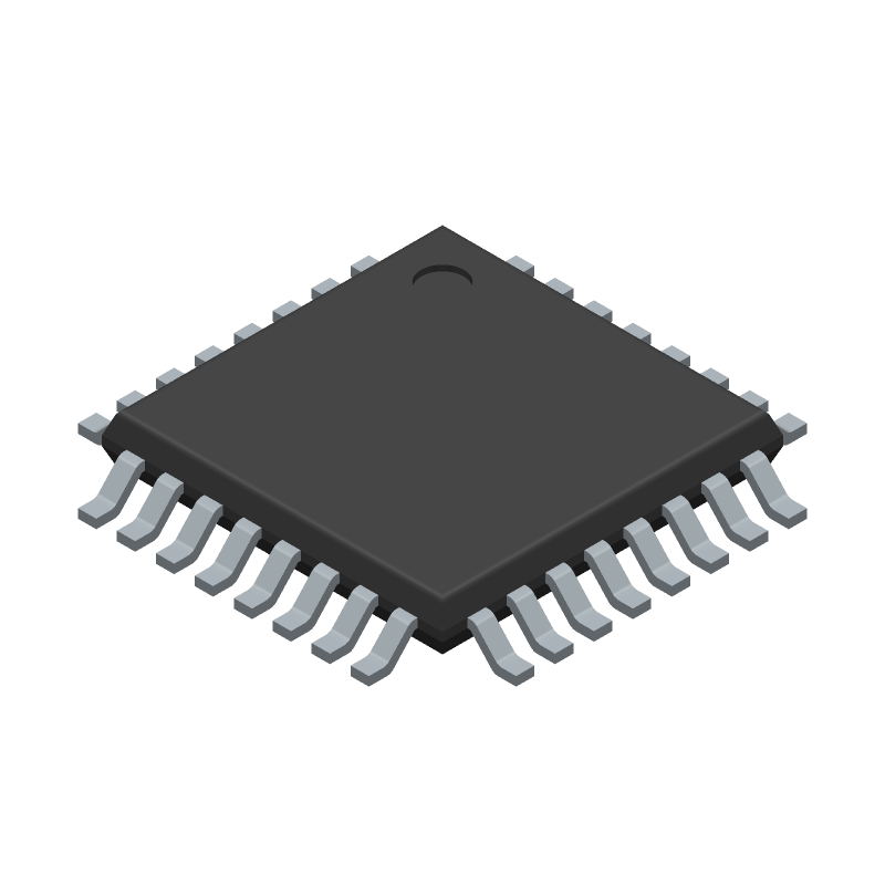 Microchip ATMEGA328PB-AU (Quad Flat Packages) 3D model isometric projection.