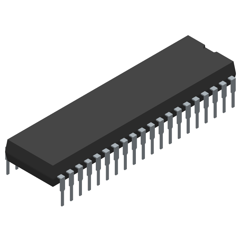 Microchip PIC18LF46K80-I/P (Dual-In-Line Packages) 3D model isometric projection.