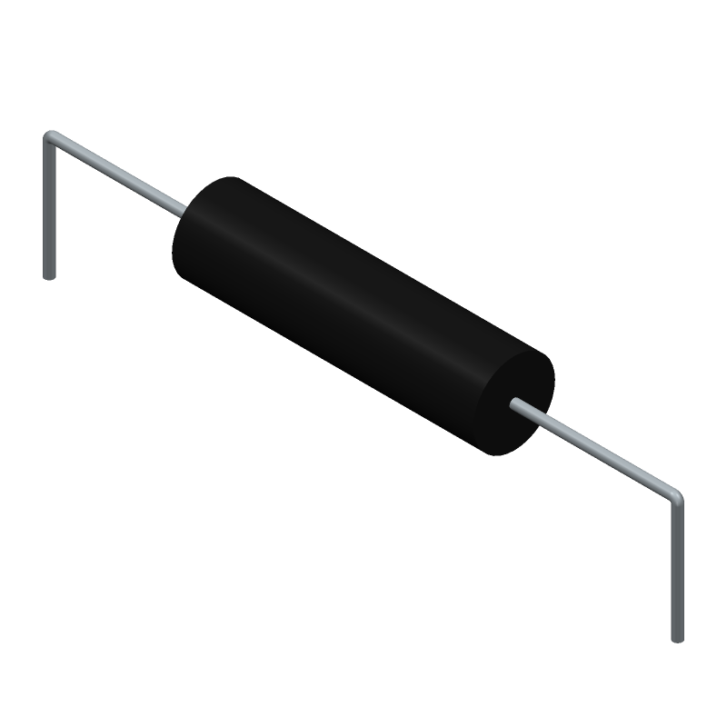 Ohmite 25J100E (Resistors, Axial Diameter Horizontal Mounting) 3D model isometric projection.