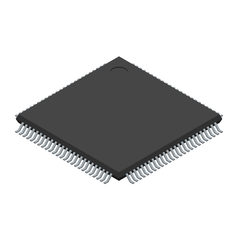 Microchip ATMEGA2560-16AU (Quad Flat Packages) 3D model isometric projection.