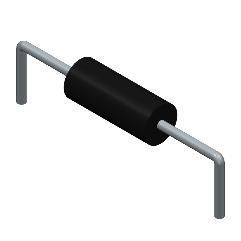 RS Components 7077745 (Resistors, Axial Diameter Horizontal Mounting) 3D model isometric projection.