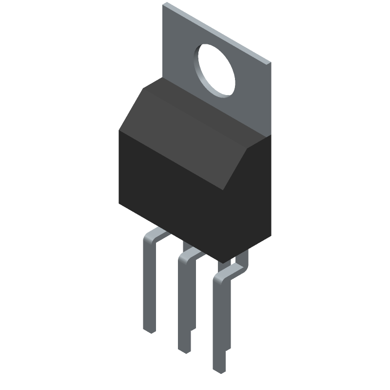 Microchip LM2576-5.0WT (Transistor Outline, Vertical) 3D model isometric projection.