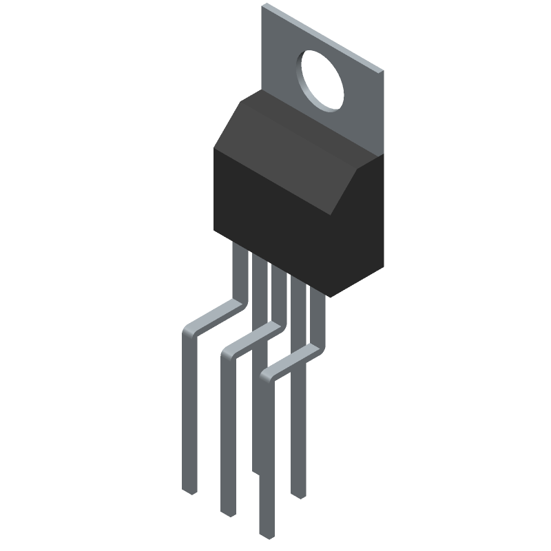 Texas Instruments LM2596T-ADJ (Transistor Outline, Vertical) 3D model isometric projection.