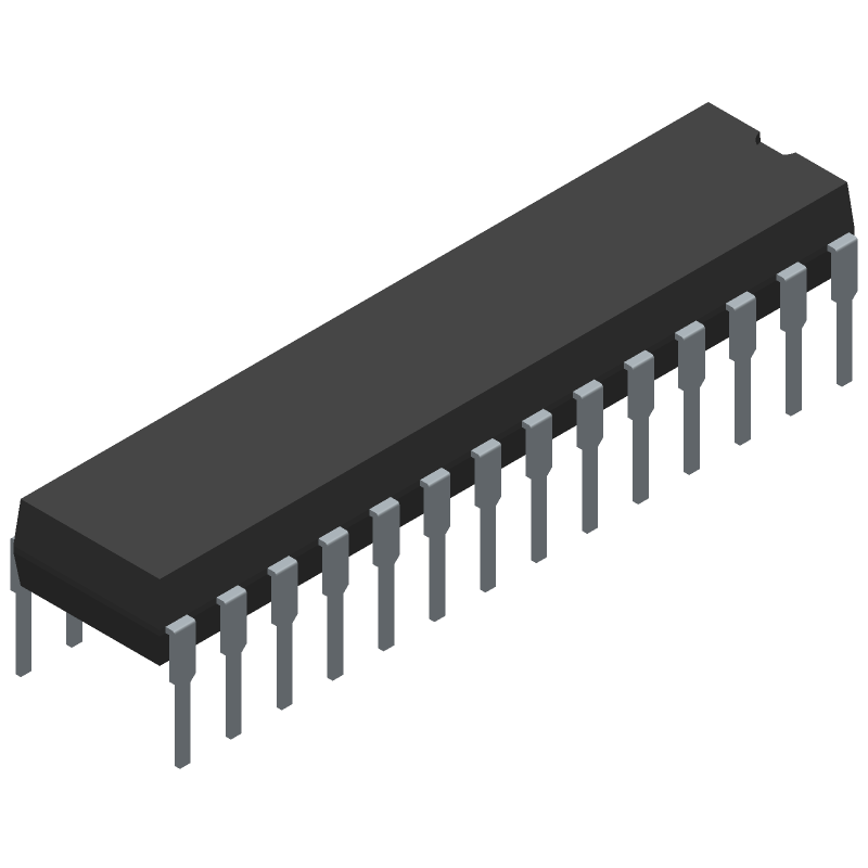 Microchip ATMEGA328P-PN (Dual-In-Line Packages) 3D model isometric projection.