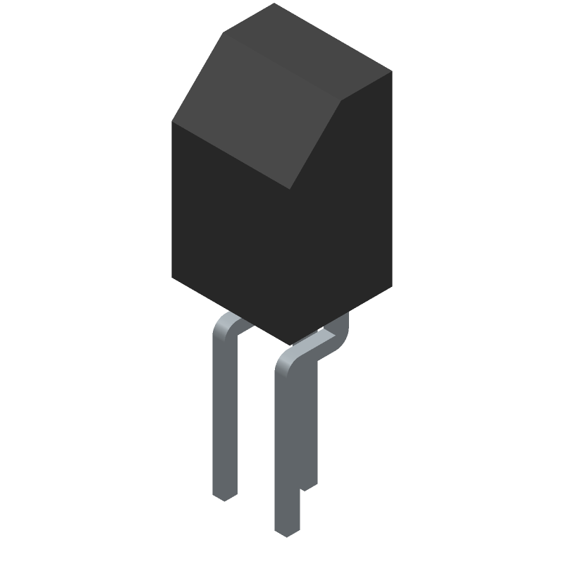 ON Semiconductor BC547B (Transistor Outline, Vertical) 3D model isometric projection.