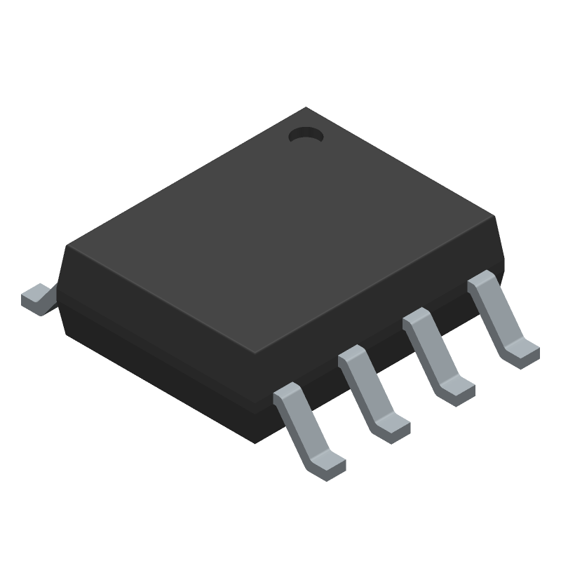STMicroelectronics NE555D (Small Outline Packages) 3D model isometric projection.