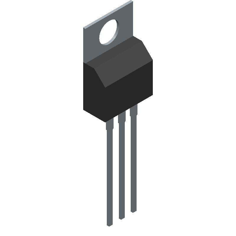 Fairchild Semiconductor LM7805ACT (Transistor Outline, Vertical) 3D model isometric projection.