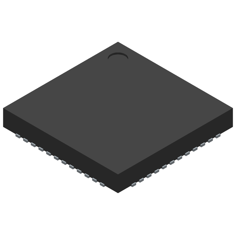 Nordic Semiconductor NRF52810-QFAA-R (Quad Flat No-Lead) 3D model isometric projection.