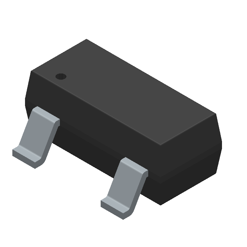 ON Semiconductor BSS138 (SOT23 (3-Pin)) 3D model isometric projection.